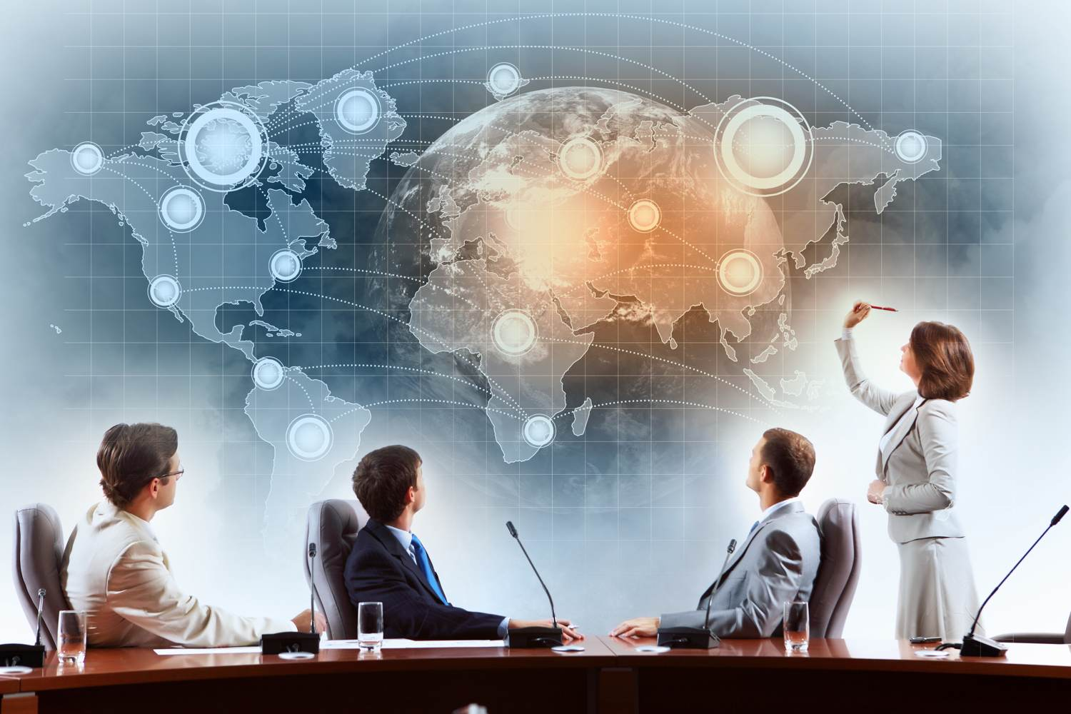 Businesspeople thinking of going international - Concept of international business